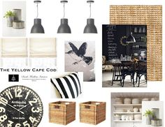 The Yellow Cape Cod: Modern Farmhouse Design Plan - Chalkboard, Natural Rug, Baskets, Black French Clock, Tin Planters, White dishes, Black and white stripes, Industrial Pendants