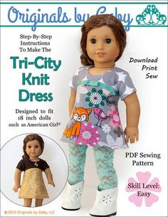 Pixie Faire Originals By Gaby Tri-City Knit Doll Clothes Pattern for 18 inch American Girl Dolls - P American Girl Outfits, American Girls, Doll Dress Patterns, Clothing Patterns, Sewing Patterns, Pixie, Ag Doll Clothes, Sewing Dolls, Fancy
