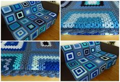 "Measuring 50"" x 50"" (130cm x 130cm) this cosy blue crochet afghan blanket is a great size for snuggling under on the sofa and keeping your heating bills down."
