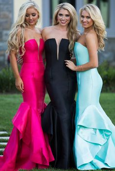 Stunning Prom Gowns. Trending neckline in beautiful colors and style.