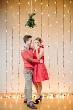 An easy and gorgeous backdrop for a photo booth at a holiday party, Christmas wedding, or family Christmas party Ward Christmas Party, Christmas Party Decorations, Noel Christmas, Xmas Party, Family Christmas, Holiday Parties, Winter Parties, Christmas Lights, Christmas Treats