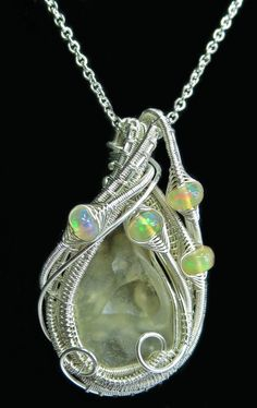 Libyan Desert Glass [Meteorite Impactite] Wire-Wrapped Pendant in Sterling Silver with Ethiopian Opals (LDGPSS19) by Heather Jordan Jewelry