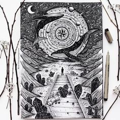"""""""The true alchemists do not change lead into gold;"""" ― William H. Zentangle Drawings, Pencil Art Drawings, Cool Drawings, Art Sketches, Pen Illustration, Ink Illustrations, Doodle Sketch, Doodle Art, Inspiration Art"""