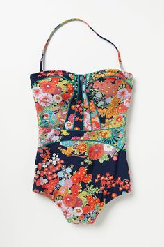 Anthropologie Nanette Lepore Kimono Floral One Piece. I would rock this awesome one piece bathing suit! Lingerie, Mode Style, Style Me, Look Fashion, Womens Fashion, Hippie Fashion, Floral Fashion, Fashion Shoes, Girl Fashion