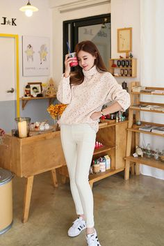 Poloneck Dot Cotton Knit Sweater