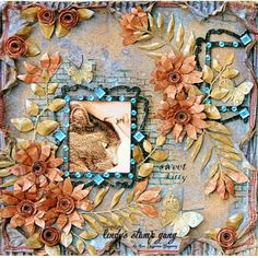 A beautiful layout by DT member Lisa using our Limited Edition set for October! Check it out blog.lindystampgang.com #lindysgang #fall #scrapbooklayout #lindystampgang #shimmer #autumn #layers #handmadeflowers #sprays #scrapbooking #lindystampgang
