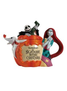 The Nightmare Before Christmas teapot with a Jack, Sally and Zero pumpkin design.