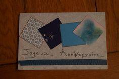 Carte anniversaire, coloris bleu et blanc