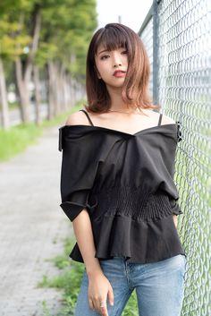 Japan Girl, Yamamoto, Heron, Asian Beauty, Bicycle, Ruffle Blouse, Jeans, Model, Beautiful