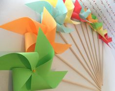Pinwheels in Solid Colors Custom Made Paper Pinwheel Set of 12 for birthday party baby shower bride and bridal shower wedding party favors