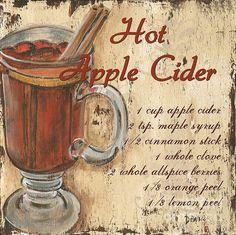Coffee Signs - Featured Images - Hot Apple Cider by Debbie DeWitt Vintage Paris, Vintage Coffee, Vintage Tea, Vintage Labels, Vintage Signs, Apple Painting, Wine Painting, Kitchen Artwork, Hot Apple Cider