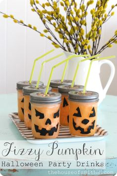 Fizzy Lemon-Lime-Pineapple-Orange Halloween Drink: I would make this anytime without the jack-o-lantern theme