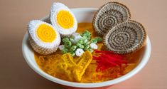 You've never seen ramen like this before - it's crocheted! see the making of here! #crochet #ramen