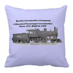 Brooks Locomotive Works #961 Throw Pillows $51.95  Accent your home with custom polyester pillows from Zazzle. Made of a high quality Simplex Knit fabric, these 100% Polyester pillows are soft and wrinkle free. The heavy weight stretch material provides great color definition for your designs, text, monogram, and photos. The perfect complement to your couch, custom pillows will make you the envy of the neighborhood