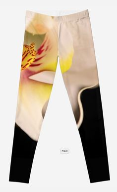 Orchid leggings by Gaye G  Australia+Queensland+flower+legging+product+ clothing+women+woman+girls+black+pattern+yellow+white+winter+summer+fall+autumn+spring+elastane+polyester+redbubble+Gaye G  Size XXS to XL
