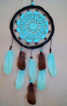 Dream Catcher ganchillo tapete Dreamcatcher plumas verde boho