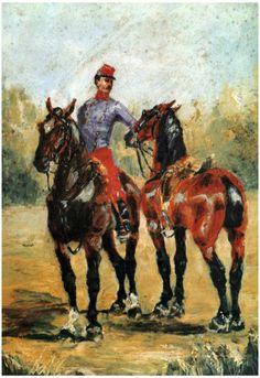Henri de Toulouse-Lautrec - Two Horses With a Soldier, 1881