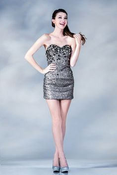 Sheath Strapless Sweetheart NecklineMini Cocktail Short Party Prom Dress With Ruffle Beading Sequins