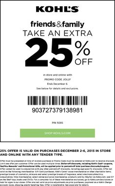 Pinned December 3rd: 25% off at Kohls or online via promo code #JOLLY #coupon via The #Coupons App Kohls Promo Codes, We Are Number One, Shopping Coupons, Shopping Deals, Calendar Reminder, Nike Shoes For Sale, Just Shop, Restaurant Offers