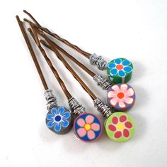 Wire Wrapped Bobby Pins Clay Flowers Bobby Pin Set Colorful Hair Accessories for Teens Tweens Hair Pin Set Pretty Bobby Pins Small Gift Idea by foreverandrea on Etsy