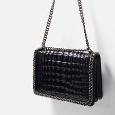 Image 3 of CROC AND CHAIN CITY BAG from Zara