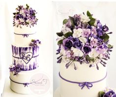 shades of violet - by sweettandcake @ CakesDecor.com - cake decorating website