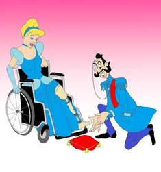 From Snow White in a wheelchair to Pocahontas limping on crutches with only one leg, they're Disney princesses like you've never seen them before. Disney Princess Movies, Disney Princess Cinderella, Mermaid Princess, Disney Movies, Disney Princesses, Disney Fan Art, Disney Pixar, Disney Style, Cinderella