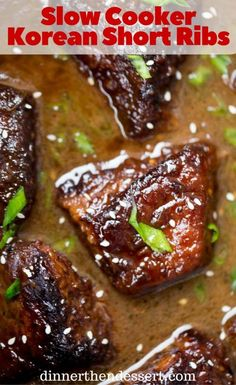 Slow Cooker Korean Short Ribs browned and cooked until fork tender ...