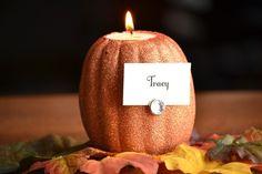 Thanksgiving/Halloween Glittered Pumpkin Place Card Holders & Centerpiece from @infarrantlycreative.net