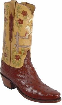 Mens Lucchese Classics Amaretto Full Quill Ostrich Custom Hand-Made Cowboy Boots L1312