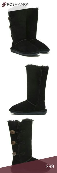 """Women's Bearpaw Boot's Triple - toggle against the cold in thus boot from Bearpaw. Features a woven heel logo, 12"""" shaft height, classic low profile TPR outsole, suede upper in a winter style boot with a round toe, open outside with triple toggle closure, sheepskin and wool blend lining with sheepskin footbed. Check out my closet where we only carry name brand apparel etc. Have a wonderful day , and thanks for stopping by. BearPaw Shoes Winter & Rain Boots"""