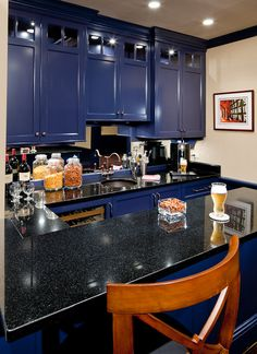 Home sports bar in Absolute Black granite with Eased edges. Blue Cabinets, Kitchen Cabinets, Basement Sports Bar, Sport Bar Design, Basement Makeover, Basement Ideas, New Kitchen, Kitchen Ideas, Cabinet Colors