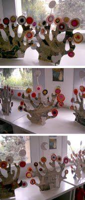 cardboard trees inspired by Kandinsky circles