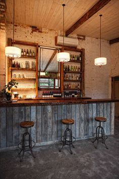 If the back of the bar was built simple like this, two candy/snack/glasses shelves could either slide or flip out to reveal the alcohol behind it.  We could continue the sliding motif from the bedroom. #Rusticindustrial #GlassShelvesBedroom