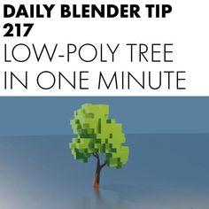 Let's make a low poly tree in one minute in Blender 2.8! #blender #blender3d #b3d #3d #cgi #motiongraphics #graphics #3dmodeling…