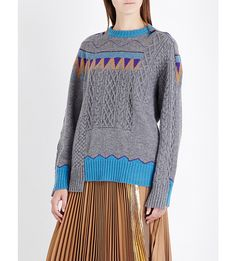 SACAI Patchwork wool jumper