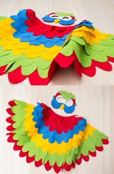 Rainbow Parrot Costume for Kids : Colourful parrot costume for toddlers and older children. Whether it is used as a rainbow bird costume or a colourful parakeet costume, it sure to make any kids happy. up toy play, Rainbow Costumes, Up Costumes, Boy Halloween Costumes, Toddler Costumes, Fancy Dress Costumes Kids, Bird Costume Kids, Parrot Costume, Fancy Dress For Kids, Kids Dress Up