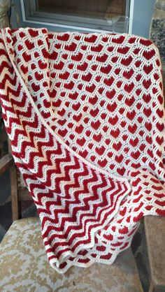 Reversible Post Stitch Hearts Blanket