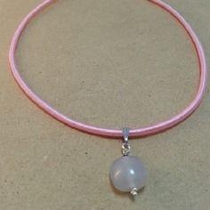 Frisson de soie- collier de soie rose et pendentif exceptionnelle agate naturelle montée sur argent 925