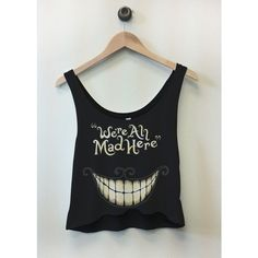We are all made here alice in wonderland cropped tank via Polyvore featuring tops, crop tank, crop tank top and crop top