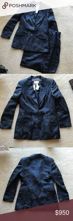 Escada Silk Suit Jacket And Skirt NWT Escada Two piece suit. Jacket & Pencil Skirt  Silk and Rayon fabric. Navy Rose Print.  From Nieman Marcus. Will sell separately upon request Escada Jackets & Coats Blazers