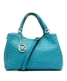 Look at this emilie m. Peacock Ostrich-Embossed Jill Satchel on #zulily today!