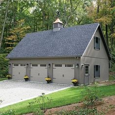 Check out this 3-car garage - room for everyone and a place to put all your matching mums! Let us help you design yours today! #kloterfarms #garage #3cargarage