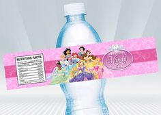 Disney Princess Water Bottle Label by DigiPartyShoppe on Etsy https://www.etsy.com/listing/169330546/disney-princess-water-bottle-label
