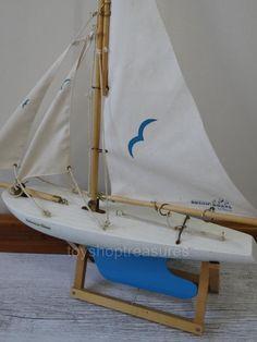 Large Vintage Wood Metal Pond Sailboat - Display Boat Blue and white Cloth Sails Coastal Homes, Vintage Wood, Wood And Metal, Sailboat, Pond, Nautical, Sailing, Blue And White, Display