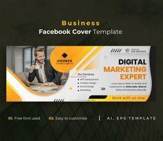 Business Facebook Cover Template AI, EPS Facebook Cover Template, App Development, Digital Marketing, Branding Design, Graphic Design, Templates, Business, Stencils, Vorlage
