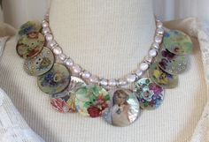 Assemblage Necklace, Mother of pearl buttons, vintage, decorative images…