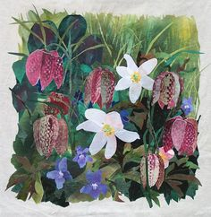 detail of Snakeshead Fritillary with Anemones by Amanda Richardson - click to return