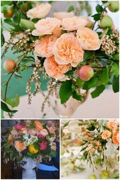 fruit ariella chezar andromeda garden roses urn wedding centerpiece diy
