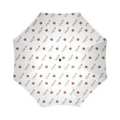 Brown Flowers, Pink Roses, Flower Design, Floral Pattern Foldable Umbrella